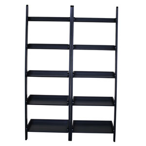 Black Two Piece Set of Lean to Shelf Units with 5 Shelves