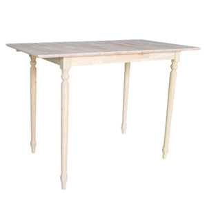 Unfinished 48 x 42-Inch Bar Height Table with Butterfly Extension