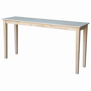 Occasional Unfinished Shaker Console Table- Extended Length