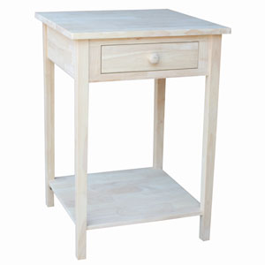 Home Accents Unfinished Wood Hampton Bedside Table