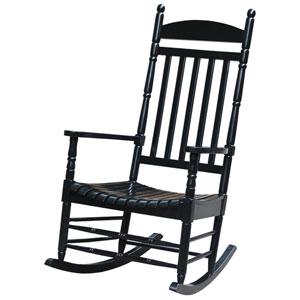 Black Solid Wood Porch Rocker