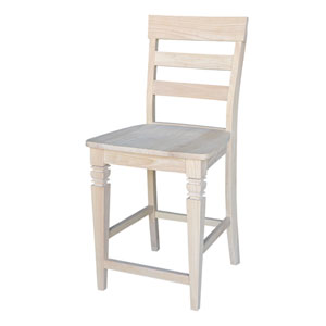 Seating-Stools Unfinished Wood 24-Inch Java Stool