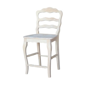 Unfinished 24-Inch Versailles Counter Height Stool with Wooden Seat