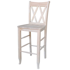 Double X-Back 29-Inch Unfinished Wood Bar Stool