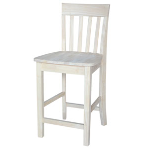 Seating-Stools Unfinished Wood Slatback Stool