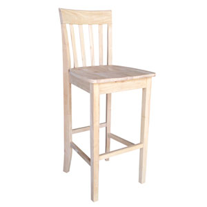 Seating-Stools Unfinished Wood Slatback 30-Inch Seat Stool