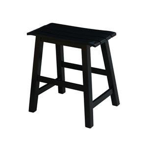 Black 18-Inch Slat Seat Stool