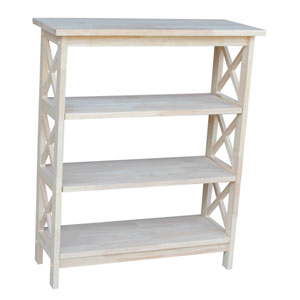 Home Accents Unfinished Wood Three Tier Shelf