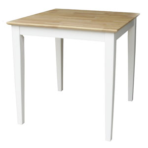 Square White and Natural Table with Drawer