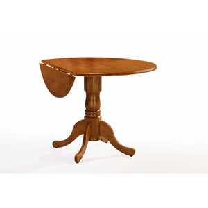 Medium Oak 42-Inch Round Drop Leaf  Table
