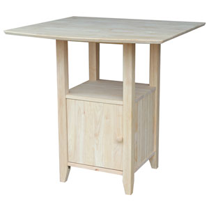 Unfinished Dual Drop Leaf Bar Height Bistro Table with Storage