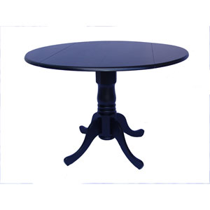 Round Dual Drop Leaf Black Table