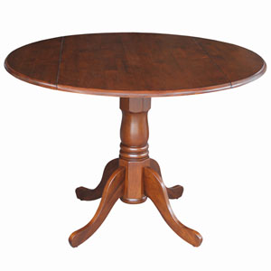 Dining Essentials Espresso 42-Inch Wide Round Dual Drop Leaf Pedestal Table