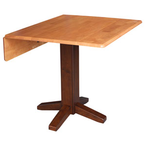Dining Essentials Cinnamon and Espresso 36-Inch Wide Square Dual Drop Leaf Dining Table
