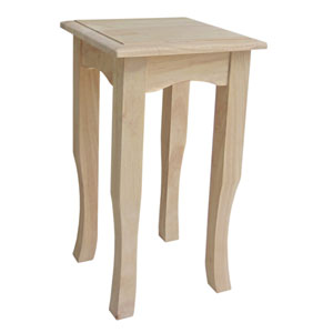 21-Inch Unfinished Wood Tea Table