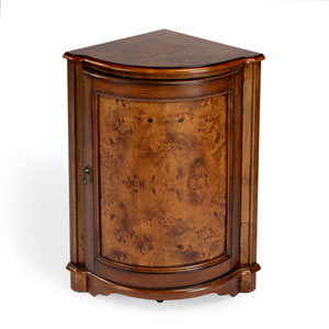 Masterpiece Olive Ash Burl Corner Cabinet