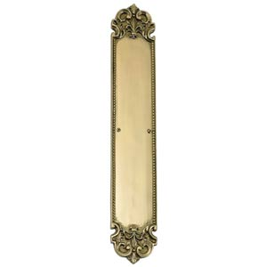 Fleur De Lis Lacquered Polished Brass Push Plate