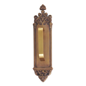 Gothic Aged Brass 16-Inch Pull Handle and Plate