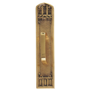 Oxford Highlighted Brass 18-Inch Pull Handle and Plate