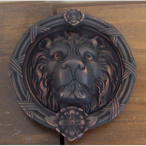 Venetian Bronze Leo Lion Door Knocker - 8 3/8-Inch