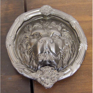 Satin Nickel Leo Lion Door Knocker - 8 3/8-Inch