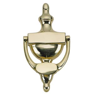 Traditional Lacquered Polished Brass Door Knocker
