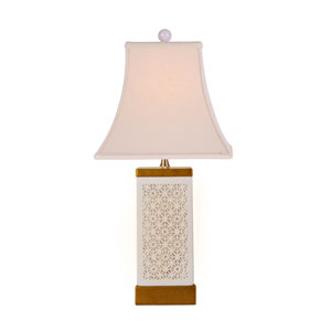 Porcelain Ware White and Gold Leaf One-Light Table Lamp