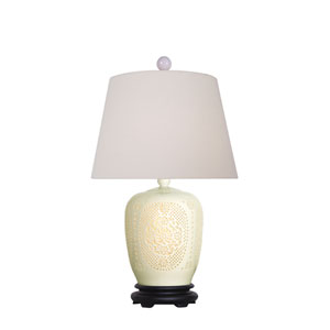 Porcelain White Pierced Bone China 25-Inch One-Light Table Lamp