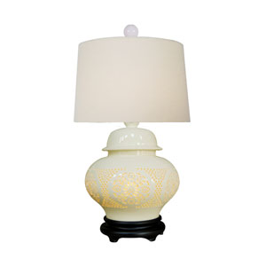 Porcelain Ware Ginger Pierced Bone China One-Light Table Lamp