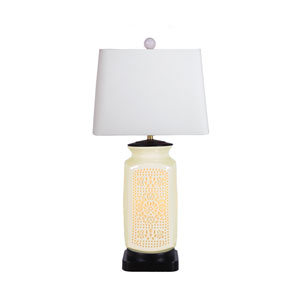 Porcelain White Pierced Bone China 28-Inch One-Light Table Lamp