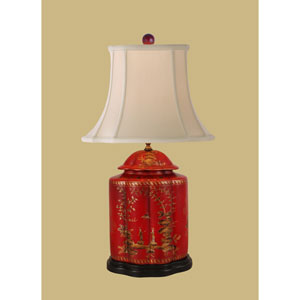 Lacquer Ware One-Light Red Jar Lamp