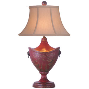 Oval Red Lacquered Table Lamp