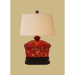 Lacquer Ware One-Light Red Box Lamp