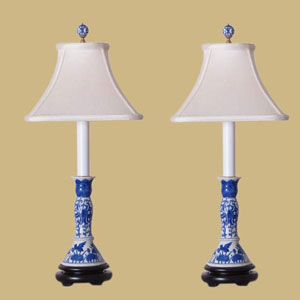 Blue and White Porcelain Table Lamp Pair