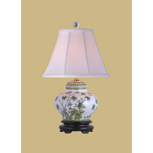Porcelain Ware One-Light Palm Tree Jar Lamp