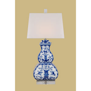 Porcelain Ware One-Light Blue and White Square Gourd Lamp