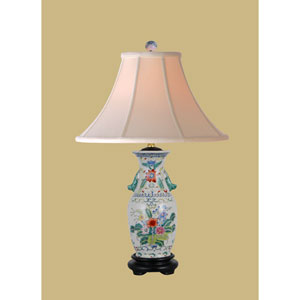 Multi Colored One-Light Porcelain Vase Table Lamp