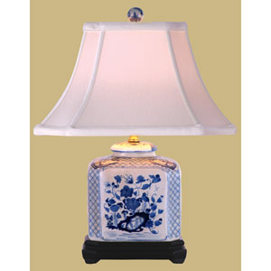 Blue and White Rectangular Jar Table Lamp