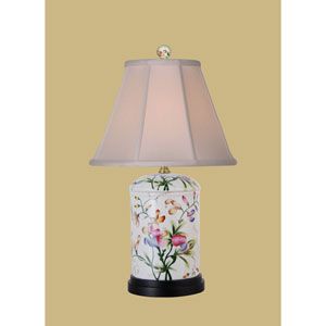 White One-Light Porcelain Flower Jar Table Lamp