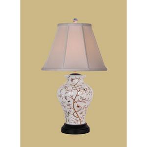 Beige One-Light Floral Birds Vase Table Lamp