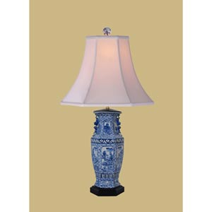 Black and White Canton Vase Table Lamp
