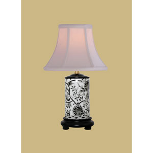 Porcelain Ware One-Light Small Black Lamp