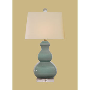 Porcelain Ware One-Light Celadon Square Gourd Lamp