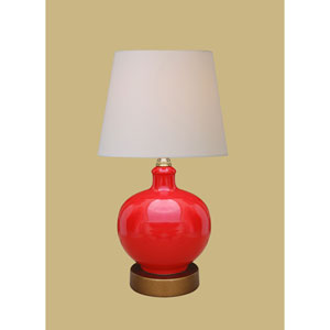 Porcelain Ware One-Light Red Lamp