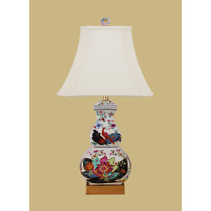 Porcelain Ware One-Light Multicolor Tobacco Square Gourd Lamp