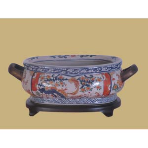 Imari Porcelain Footbath with Base