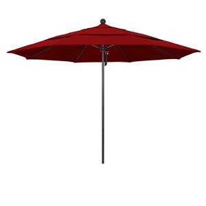 11 Foot Umbrella Fiberglass Market Pulley Open Double Vent Bronze/Sunbrella/Jockey Red