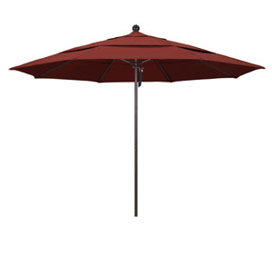 11 Foot Umbrella Fiberglass Market Pulley Open Double Vent Bronze/Sunbrella/Henna