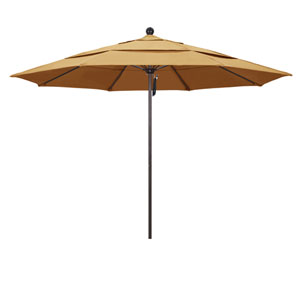 11 Foot Umbrella Fiberglass Market Pulley Open Double Vent Bronze/Sunbrella/Wheat