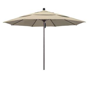 11 Foot Umbrella Fiberglass Market Pulley Open Double Vent Bronze/Sunbrella/Antique Beige